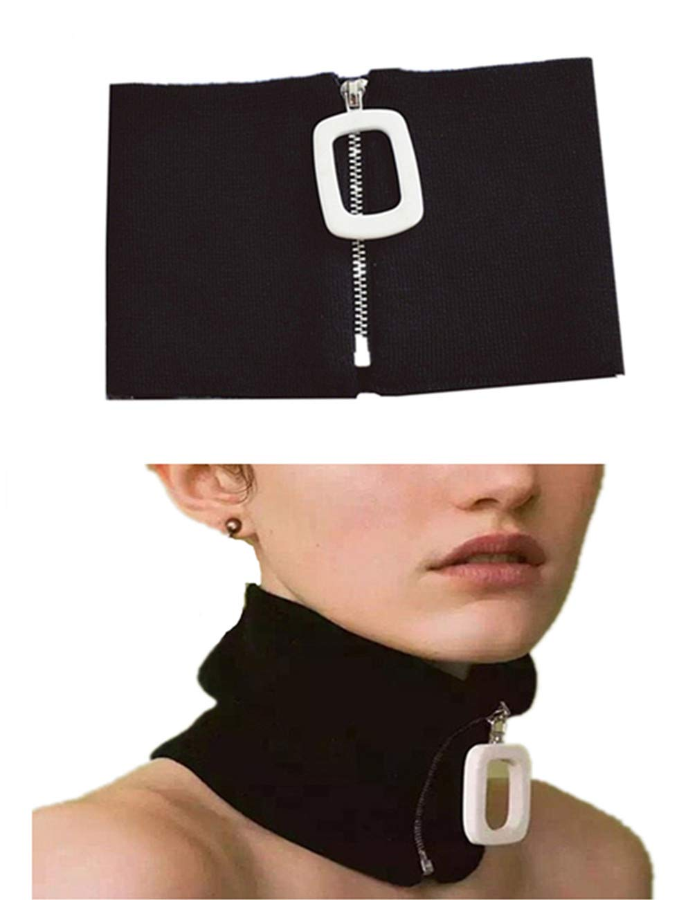 DEMON BABY European New Black Fake Collar False Faux Doll Collar with Square Zipper Choker Necklace Best Gift