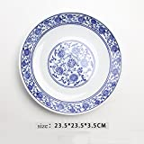 LHJY Blue And White Porcelain Plates Hats Soup Plates Protective Edges Shallow Plates Blue And White Porcelain Plates 9 5 Inch Shallow Shield