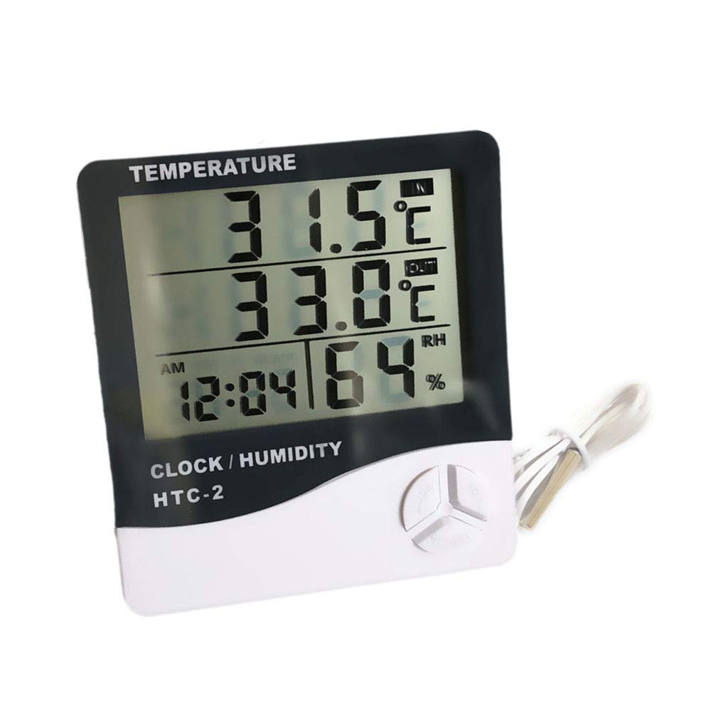 QYY LCD Probe Fridge Freezer Thermometer, Digital Refrigerator Thermometers for Kitchen, Indoor Outdoor Hygrometer Thermometer Weather Station with Clock Humidity by QYY