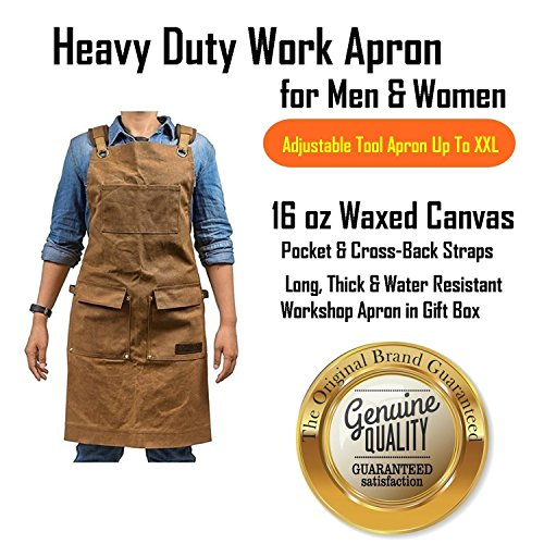 Luxury Waxed Canvas Shop Apron | Heavy Duty Work Apron for Men & Women with Pocket & Cross-Back Straps | Adjustable Tool Apron Up To XXL | Long, Thick, Water Resistant Workshop Apron in Gift Box by GIDABRAND (Image #9)