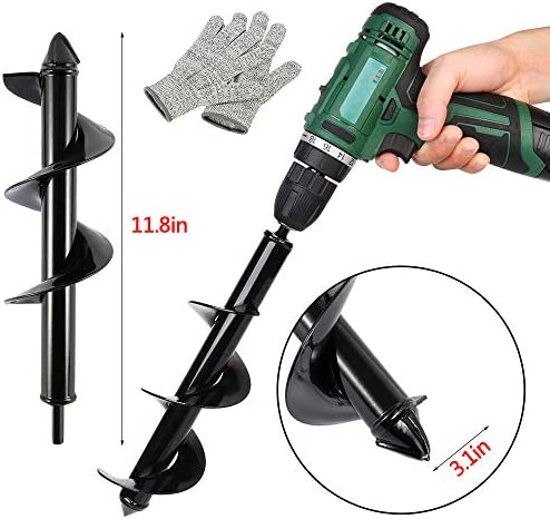 Yadianna Drill Planter Garden Auger Spiral Drill Bit Earth Planting Auger Drill Bit for Electric Drill 6.6x42cm Drill Accessories