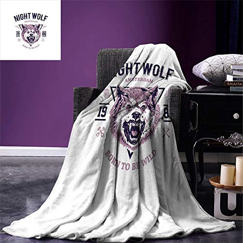 ZOMOY Wolf Digital Printing Blanket Born to be Wild Angry Animal Vintage Grunge Illustration Roaring Savage Retro Summer Quilt Comforter Dried Rose Eggplant