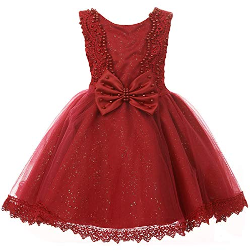 Baby Girls Dresses Satin Glittered Tulle with Embroidered Pearls Bodice and Bow Burgundy - Size XL