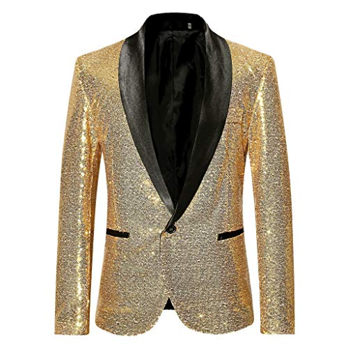 Suit 3 Wool Button Gold - SFE Men's Fashion Suit Jacket Blazer Single Button Sequin Luxury Weddings Party Dinner Prom Tuxedo Gold