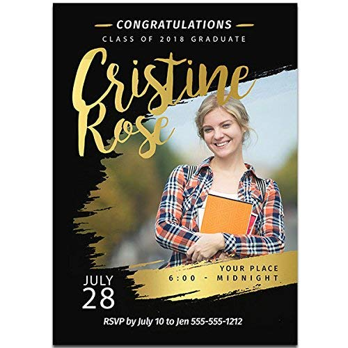 - Black and Gold Custom Photo Graduation Invitation