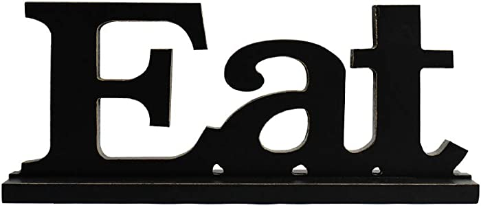 Rustic Wood Eat Sign for Home Decor, Decorative Wooden Cutout Word Decor Freestanding Family Tabletop Decor, Black Eat Block Letters Sign Kitchen Decor (Black Eat Sign)