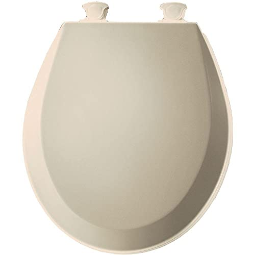 Bemis 500EC146 Molded Wood Round Toilet Seat With Easy Clean and Change Hinge, Almond