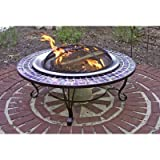 Catalina Creations 40″ Glass Mosaic Fire Pit with Gorgeous Blue Glass Tiles, Durable Stainless Steel Fire Bowl and Elegant Stand Design