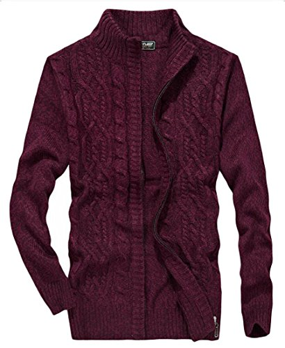 Red Winter M amp;S Full Sweater Sleeve Zipper amp;W Long Cardigan Mens wxxvrBt1