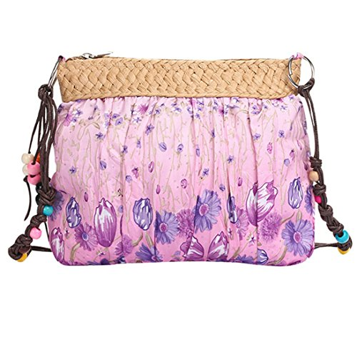 Catnew Fashion Women Girl Bohemian Boho Ethnic Print Beach Bag Purse Cloth Clutch Shoulder Crossbody Bag (Pink)