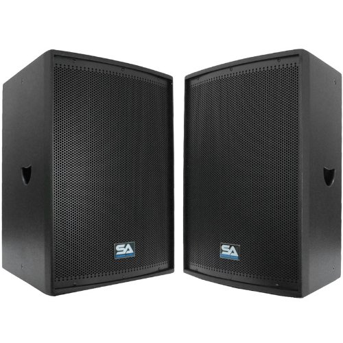 Seismic Audio Pair 12-Inch Pro Audio PA/DJ Speakers Textured Painted Monitors, Black by Seismic Audio