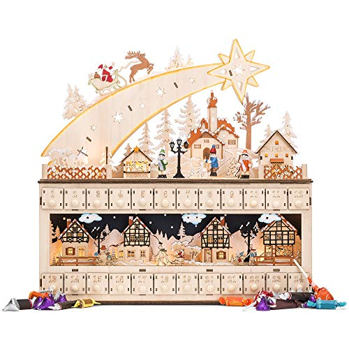 Best Choice Products Wooden Christmas Shooting Star Advent Calendar Holiday Decoration w/Battery-Operated LED Light Background