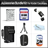 8GB Accessories Bundle Kit For Kodak EasyShare Touch M583 M580 M575 M550 M530 Digital Camera Includes Replacement Extended (1000 Mah) KLIC-7006 Battery + AC/DC Travel Charger + Hard Case + 8GB High Speed SD Memory Card + USB 2.0 SD Reader + More