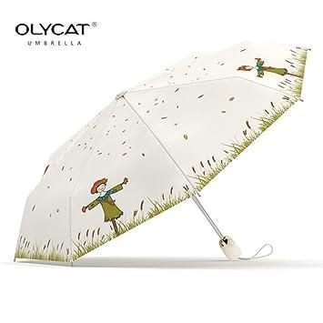 OLYCAT - Paraguas plegable para hombre y mujer, resistente al viento, totalmente automático,