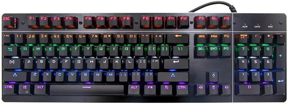 MDYYD PC Gaming Keyboard USB Wired 104 Key RGB Backlight Blue Switch Mechanical Gaming Keyboard for PC Laptop Suitable for Office and Home Use Mechanical Gaming Keyboard Compact
