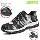 GUDUN Top Leather+Mesh Men Steel toe boots Comp Steel Toe Shoes Safety Work steel toe shoes for Men Hiking Shoes (Size Chart in Last Photo) … (42, GDBM-4)
