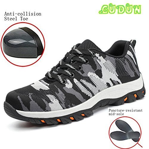 GUDUN Top Leather+Mesh Men Steel toe boots Comp Steel Toe Shoes Safety Work steel toe shoes for Men Hiking Shoes (Size Chart in Last Photo) … (39, GDBM-4) by GUDUN