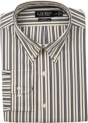 Lauren Ralph Lauren Men's Slim Fit No-Iron Multi-Stripe Poplin Dress Shirt Wine/Bone 16-34/35