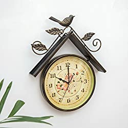 [northern europe] Household Wall clock Creative [rural] Decorative Clock Living rooms Bedrooms Retro Silent Clocks-Bronze 32.5x41cm(13x16inch)