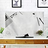 Analisahome Cord Cover for Wall Mounted tv White Office Desk Table with Laptop and Supplies top View Cover Mounted tv W19 x H30 INCH/TV 32''