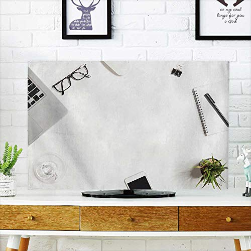 Analisahome Cord Cover for Wall Mounted tv White Office Desk Table with Laptop and Supplies top View Cover Mounted tv W19 x H30 INCH/TV 32'' by Analisahome