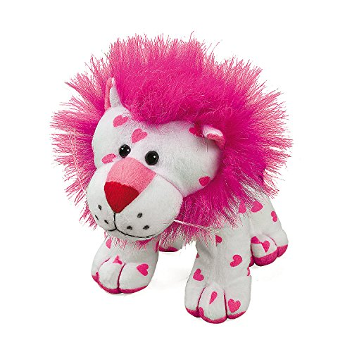 Plush Stuffed White with Pink Hearts Lion (Stuffed Toys Miniature)