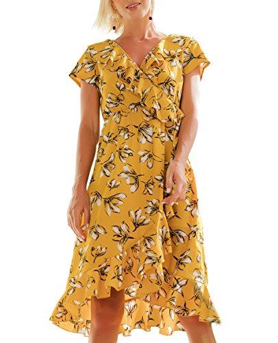 T.SEBAN Womens Dresses Sexy V-Neck Flower Print Summer Dresses Ruffle Hem Boho Style Casual Maxi Dress (Yellow, Medium) (Dress Wrap Tie)