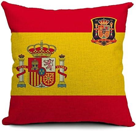 Wewoo Cojín Bandera Nacional España y el Escudo de Escudo de Selección Algodón Funda de Almohada Lino Almohada Interior no Incluido Talla: 45 * 45 cm: Amazon.es: Hogar