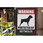 Honey Dew Gifts Rottweiler Sign Warning Protected by Rottweiler 9 x 12 Inch Beware of Dog Warning Metal Aluminum Tin Sign - Beware of Dog Signs for Fence 8