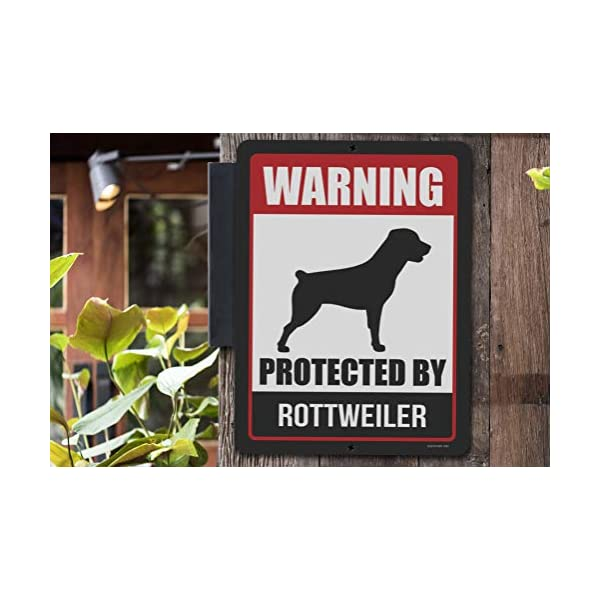Honey Dew Gifts Rottweiler Sign Warning Protected by Rottweiler 9 x 12 Inch Beware of Dog Warning Metal Aluminum Tin Sign - Beware of Dog Signs for Fence 4