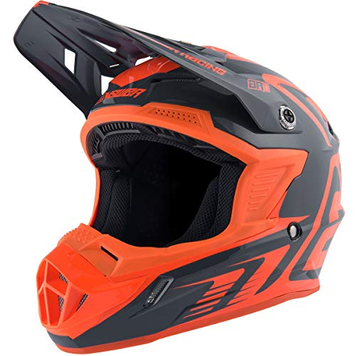 Answer Racing A19 Ar1 Edge Youth Boys Off-Road Motorcycle Helmet - Charcoal/Flo Orange/Small