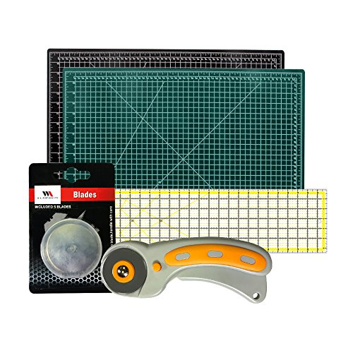 Rotary Cutter with Self Healing Mat &Quilting Ruler –Professional Quilting & Sewing Set (18x24) (Professional Mat Cutter)