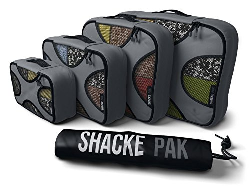Shacke Pak - 4 Set Packing Cubes - Travel Organizers with Laundry Bag (Dark Grey) by Shacke