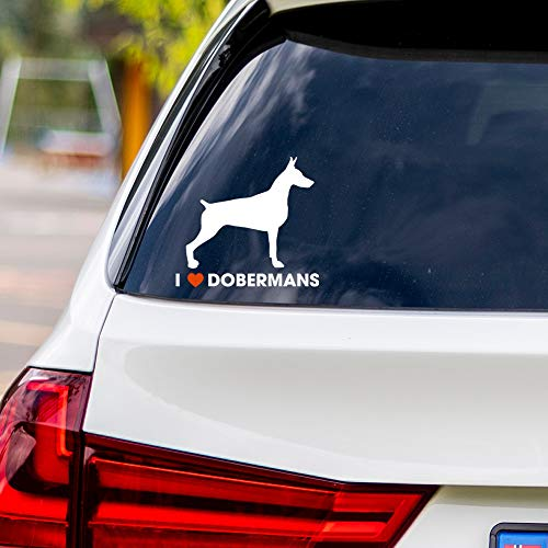 I Love Doberman Pinschers Vinyl Car Sticker Decal (White)