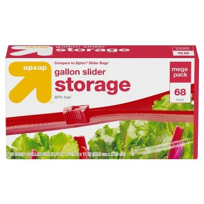 Gallon Slider Storage Bag 68ct -up&Up153; (Compare to Ziploc174; Slider Bags) Clear