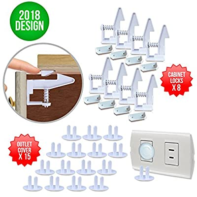 Cabinet Locks Child Safety Latches and Electrical Outlet Covers by Dasiio (15 Plug Covers) (8 Pack Locks Safety) easy to install without tools and have your Safety Cabinet Drawer and Baby Proofing