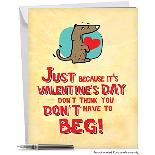 Price comparison product image J2159VDG Jumbo Funny Valentine's Day Card: Valentine Beg - With Envelope (Extra Large Version: 8.5'' x 11'')