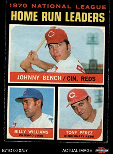 (1971 O-Pee-Chee # 66 NL HR Leaders Johnny Bench/Tony Perez/Billy Williams Reds/Cubs (Baseball Card) Dean's Cards 5 - EX Reds/Cubs )