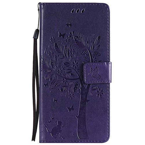Galaxy S9 Plus Case, Embossed Tree Cat Butterfly Pattern PU Leather Wallet Stand Flip Case for Samsung Galaxy S9 Plus- Purple