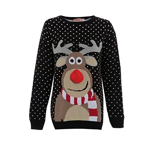 FVUK Big Girls Men 3D Pom Pom Rudolph Reindeer Xmas Jumper Sweater