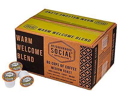 Neighborhood Social, Warm Welcome Blend Medium Roast Gourmet Coffee, 80 count Single Serve Cups