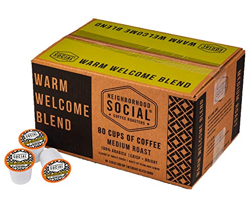 (Neighborhood Social, Warm Welcome Blend Medium Roast Gourmet Coffee, 80 count Single Serve Cups)
