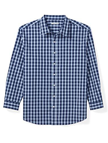 Amazon Essentials Men's Big & Tall Long-Sleeve Plaid Casual Poplin Shirt fit by DXL, Blue, 3X