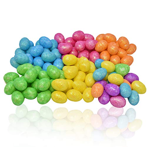 "216 Count Mini Foam Eggs 3/4"" Glitter in 6 Packages Includes Yellow Orange Pink Green Blue Pack for Easter Decoration Crafts Hanging Ornaments Styrofoam Home Decor Mini Egg Shaped Multicolor Foam ()"