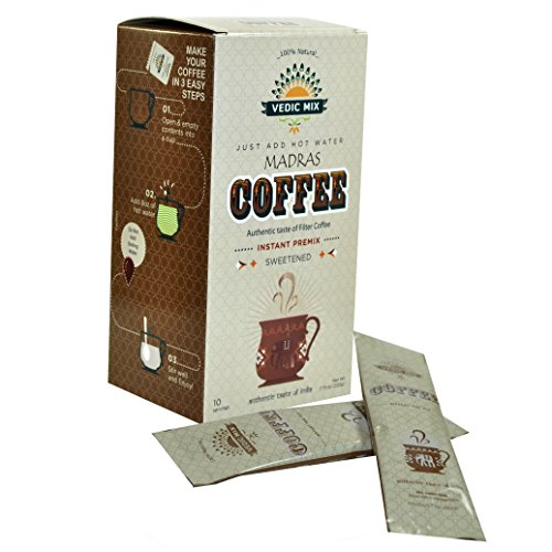 Vedic Mix Sweetened Madras Coffee (10 Single-serve - Indian Coffee South Filter