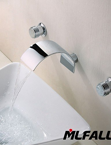 Ling@ Basin mixer Mlfalls Brands Three Holes Contemporary Wall Mount Waterfall 3 Pieces Italian Style Wash Basin Faucet