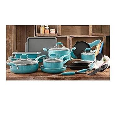 The Pioneer Woman Vintage Speckle 20-Piece Blue Cookware Pans Pots