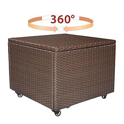 Attirant Babylon Resin Wicker Indoor Outdoor Storage Container Bin, Backyard Garden Storage  Box With Locking Metal