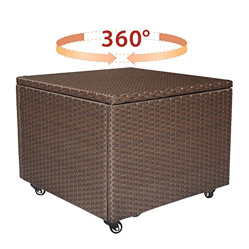 Outdoor Patio Wicker Resin Cube Storage Container, Deck Box with Locking Metal Swivel Wheels,360-Degree Pivoting Action,Medium-size, 34-Gallon (Brown)