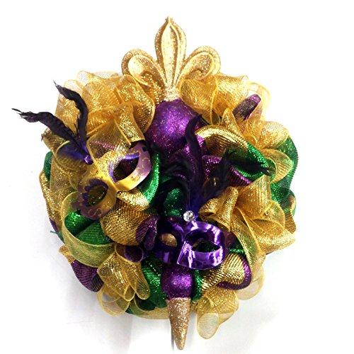 Large 27 Inch Mardi Gras Mask Fleur De Lis Wreath Handmade Deco Mesh